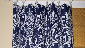blue print size curtains navy fabric beautiful navy blue print curtains gold