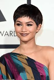mary j blige hairstyle with sam smith wig zendaya dons pixie cut wig and vivienne westwood gown at the