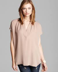popover blouse vince blouse popover silk in pink lyst