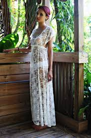 Honeymoon Nightgowns Sheer Lace Bridal Nightgown Lingerie Wedding Trousseau Ivory Lace