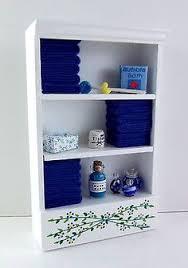 dolls house miniature bathroom furniture shelf unit pink towels