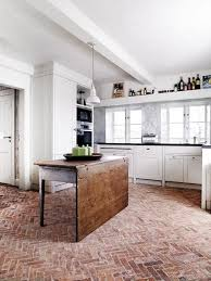 best 25 brick floor kitchen ideas on wood cabinets