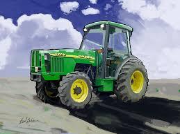1998 john deere 5510n farm tractor painting by brad burns