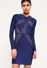 blue bodycon dress blue bandage lace insert bodycon dress missguided