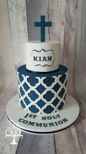 boys communion christening cake white and navy blue