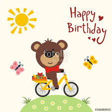 happy birthday funny bear on bicycle with birthday gifts