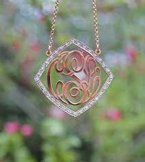 Gold Monogram Necklace Diamond Frame Gold Cz Rimmed Monogram Necklace Be Monogrammed