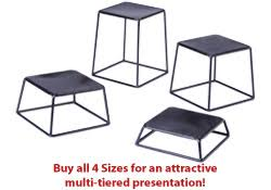 riser stands steel with black finish trapezoid design