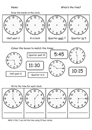 telling time assessment worksheet time o clock half past quarter to and past by sophiawg