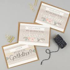 will you be my godparents card personalised by tandem green
