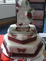 Red Butterfly Wedding Cake In Octagon Shape Cake Diamonds