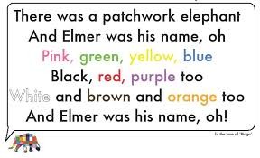 Patchwork Elephant Book - learning colours with elmer the patchwork elephant laia s tefl