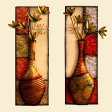 home decor wall hangings vintage colored drawing lotus flower vase metal rectangle wall art