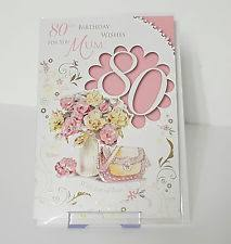 lovely happy 80th birthday mum 80 eighty verse wordy greeting card