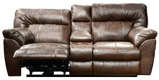 loveseat recliner leather black with console lazy boy darrin