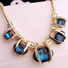 blue crystal statement necklace images Bohemia style women fashion blue crystal pendant gold statement jpeg
