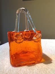 Vintage Orange Glass Vase Gorgeous Orange Rare Vintage Murano Glass Purse Art Glass Vase