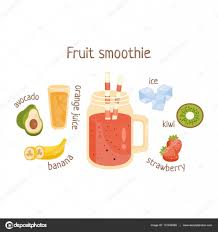 mixed drink clipart fruit smoothie infographic recipe with needed ingredients and