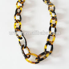 colored chain link necklace images European country popular elegant tortoise shell leopard color oval jpg