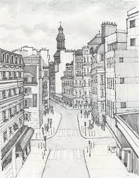 french street scene drawing by alyson therrien