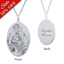 photo engraved necklace sterling silver oval photo engraved necklace rsnamenecklace