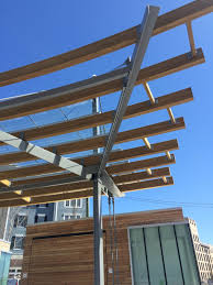 glulam trellis at long island transit plaza wood times blog
