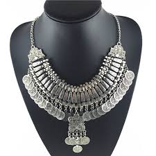silver fashion statement necklace images 2018 hot tassel exaggerated long silver coin necklace women jpg