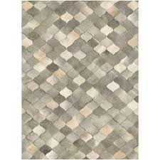 Leather Area Rug Couristan Chalet Diamonds Ivory Grey Cowhide Leather Area Rug 5