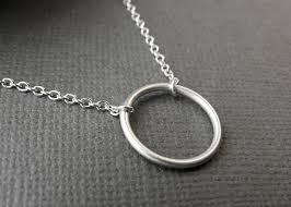 ring necklace silver images Minimalist small circle karma necklace open circle infinity jpg