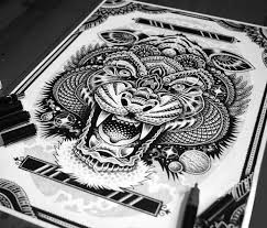 cosmic tiger pen drawing by sneaky studios no 1250