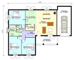 plan maison 3 chambres plain pied plan maison simple 3 chambres 7 contemporaine plain pied en l et