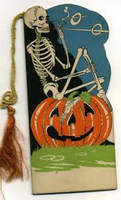 funny skull and halloween pumpkin vintage halloween card tag