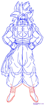 draw gogeta super saiyan 4 step step dragon ball