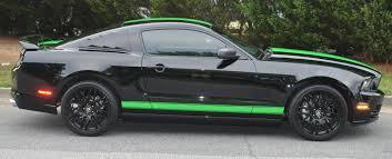 Black Mustang Black Mustang U2013 Neon Green Shelby Stripes And Rocker Panels Car