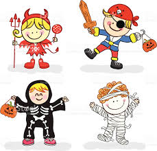 kids with halloween costume cartoon illustration stock vector art