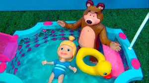 masha bear swimming pool toy story masha mashaeourso
