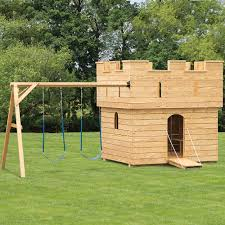 wooden swing set and castle w slide playground equipemnt or