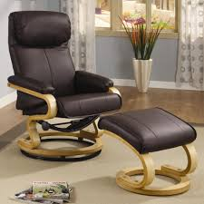 Chair And A Half Recliner Black Leather Chair With Puffed Top Of The Back Combined With Arm