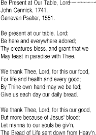 Thanksgiving Christian Song Be Present At Our Table Lord By John Cennick Thanksgiving