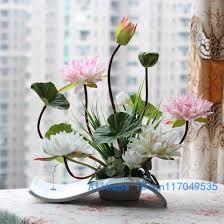 Japanese Flower Arranging Vases Flower Arrangement Ikebana Arranged Artificial Lotus Flower Silk