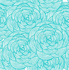 turquoise flowers turquoise linear flowers background stock illustration