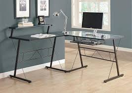Metal And Glass Computer Desks Black Glass Computer Desk Metal Modern Design Black Glass