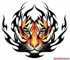 black tribal and color tiger face tattoo design tattoo viewer com