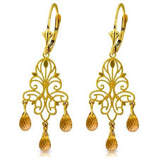 galaxy gold products 14k solid gold chandelier earrings with