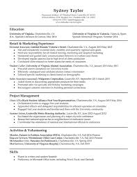 Sample Resumes For Retail by Resume Samples Uva Career Center