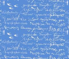 cornflower blue cornflower blue background with white script fabric