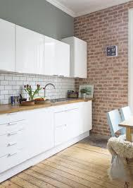 brick kitchen ideas white gloss kitchen units by ikea brick slip wall fired earth