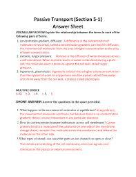 worksheet passive active transport worksheet answers ryan blog