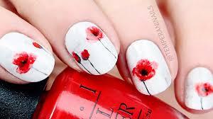 poppy flower nail art tutorial youtube