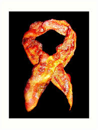 bacon ribbon bacon awareness ribbon never forget bacon prints by
